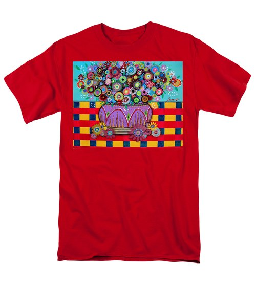 Men's T-Shirt  (Regular Fit) featuring the painting Blooms by Pristine Cartera Turkus
