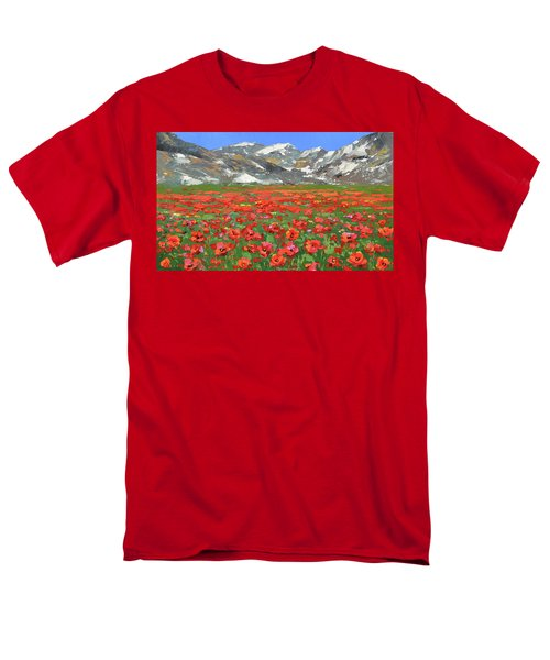 Men's T-Shirt  (Regular Fit) featuring the painting Mountain Poppies  by Dmitry Spiros