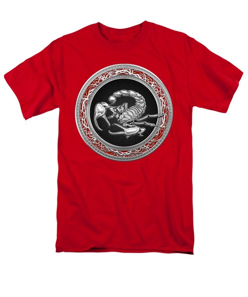 Treasure Trove - Sacred Silver Scorpion On Red Men's T-Shirt  (Regular Fit) by Serge Averbukh