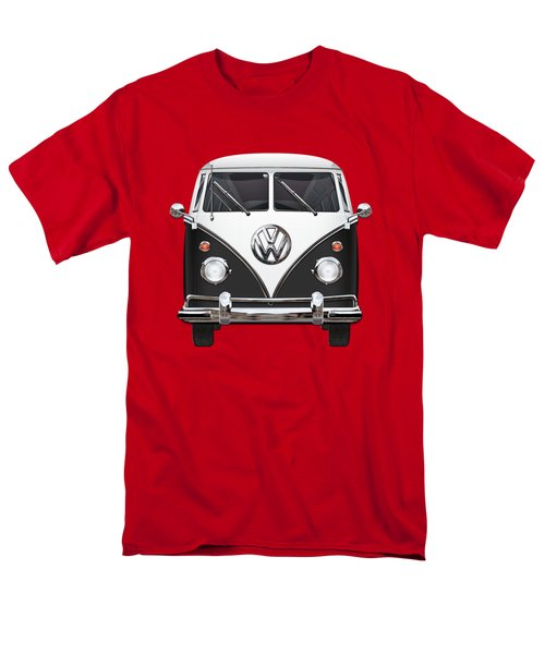 Volkswagen Type 2 - Black And White Volkswagen T 1 Samba Bus On Red  Men's T-Shirt  (Regular Fit)