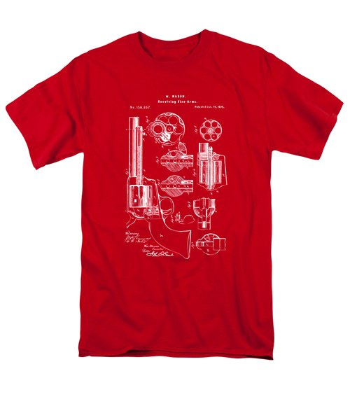 Men's T-Shirt  (Regular Fit) featuring the drawing 1875 Colt Peacemaker Revolver Patent Red by Nikki Marie Smith