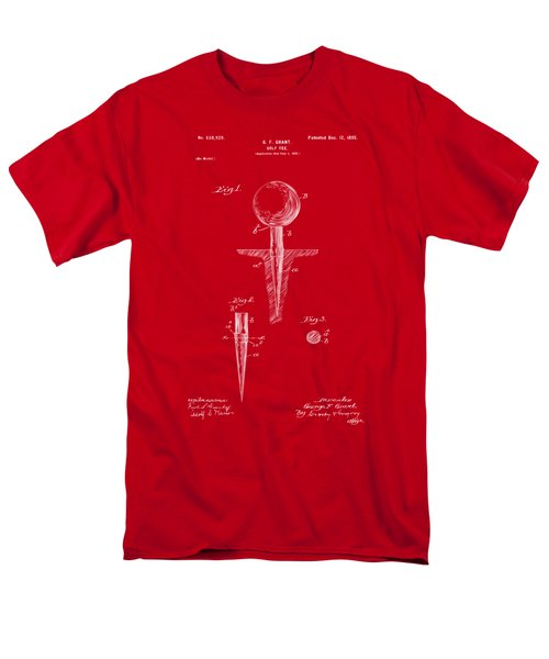 Men's T-Shirt  (Regular Fit) featuring the drawing 1899 Golf Tee Patent Artwork Red by Nikki Marie Smith