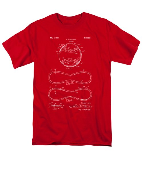 1928 Baseball Patent Artwork Red Men's T-Shirt  (Regular Fit) by Nikki Marie Smith