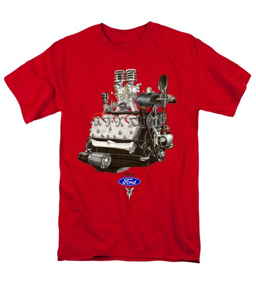 Men's T-Shirt  (Regular Fit) featuring the painting 1934 Ford Flathead V 8 Tee Shirt by Jack Pumphrey