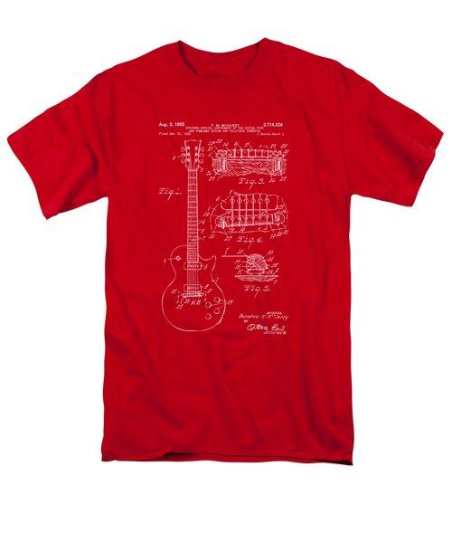 Men's T-Shirt  (Regular Fit) featuring the drawing 1955 Mccarty Gibson Les Paul Guitar Patent Artwork Red by Nikki Marie Smith
