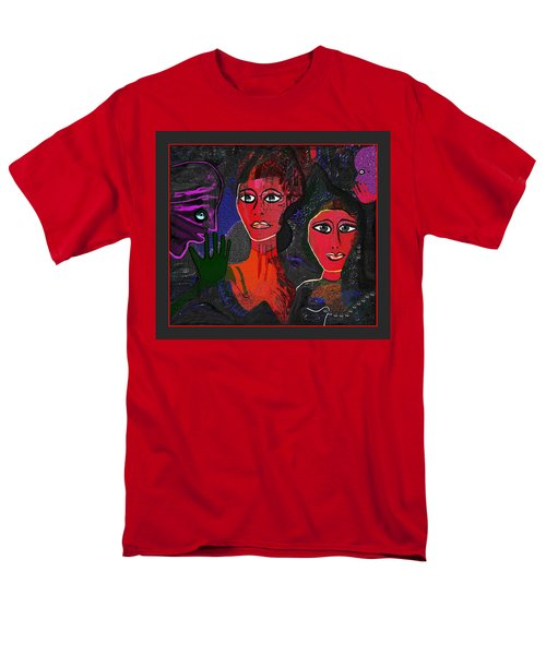 Men's T-Shirt  (Regular Fit) featuring the digital art 1977 - Faces Red by Irmgard Schoendorf Welch