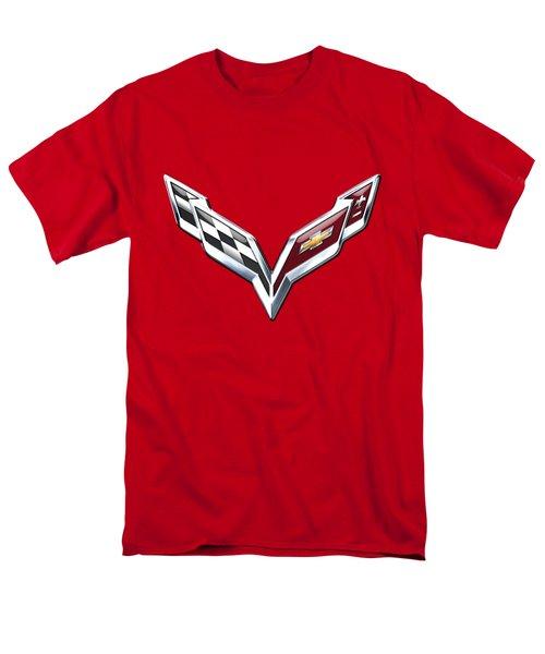 Chevrolet Corvette - 3d Badge On Red Men's T-Shirt  (Regular Fit) by Serge Averbukh