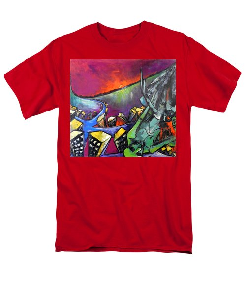 Men's T-Shirt  (Regular Fit) featuring the painting Flight Of Death by Kenneth Agnello