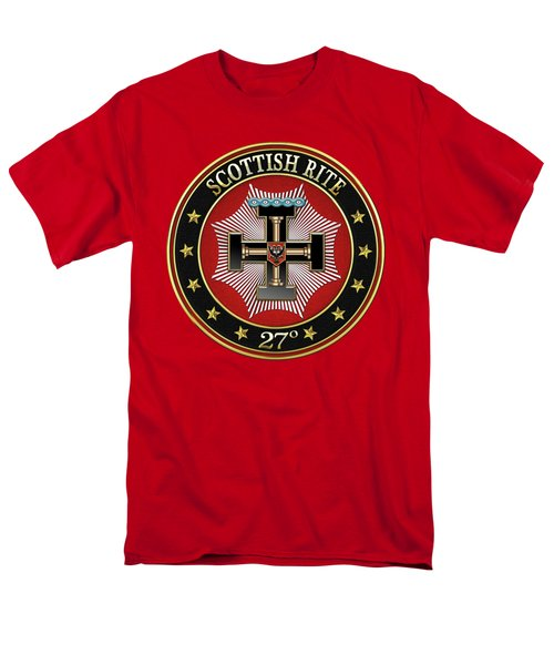 27th Degree - Knight Of The Sun Or Prince Adept Jewel On Red Leather Men's T-Shirt  (Regular Fit)