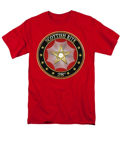 28th Degree - Knight Commander Of The Temple Jewel On Red Leather Men's T-Shirt  (Regular Fit)