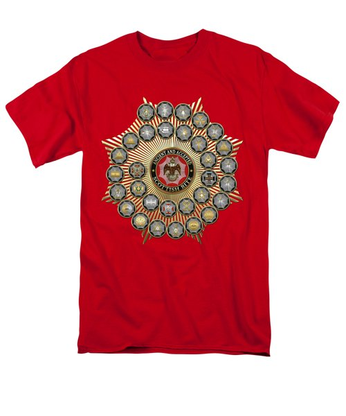 33 Scottish Rite Degrees On Red Leather Men's T-Shirt  (Regular Fit) by Serge Averbukh