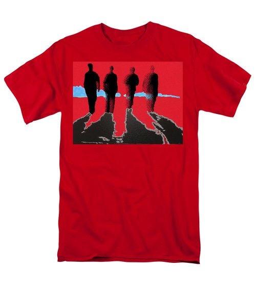 Men's T-Shirt  (Regular Fit) featuring the drawing 4 Friends Walking Into The Sun by Robert Margetts