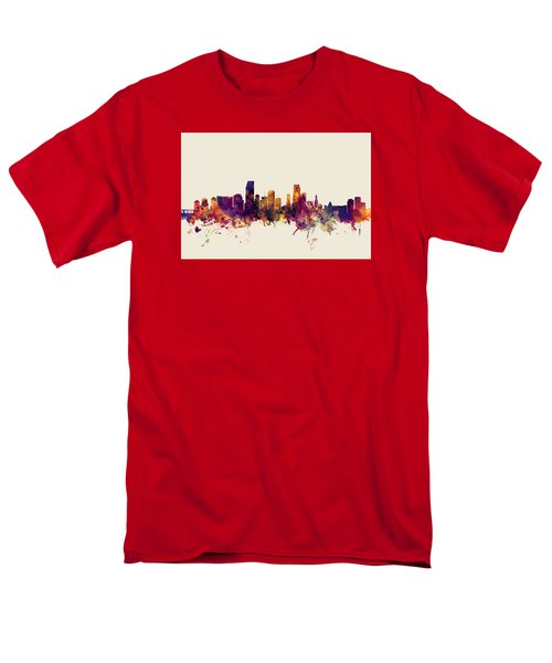 Miami Florida Skyline Men's T-Shirt  (Regular Fit) by Michael Tompsett