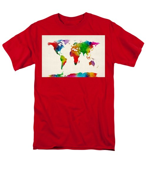 Men's T-Shirt  (Regular Fit) featuring the digital art Watercolor Map Of The World Map by Michael Tompsett