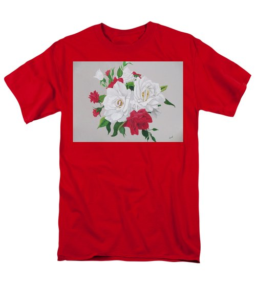 Men's T-Shirt  (Regular Fit) featuring the painting A New Rose Bouquet by Hilda and Jose Garrancho
