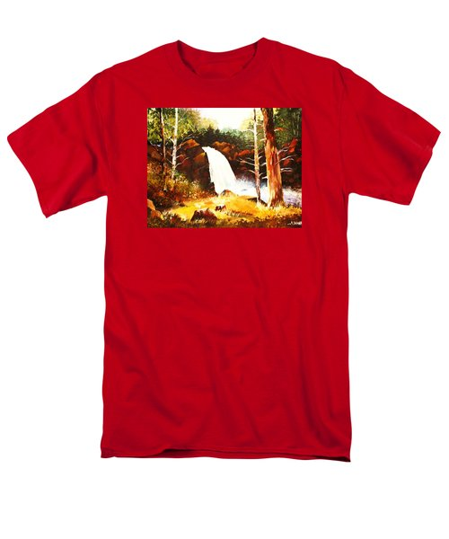 Men's T-Shirt  (Regular Fit) featuring the painting A Spout In The Forest Ll by Al Brown