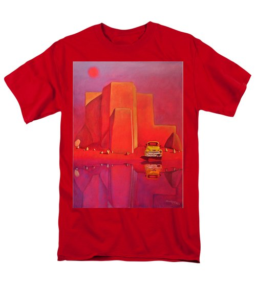 Men's T-Shirt  (Regular Fit) featuring the painting A Yellow Truck With A Red Moon In Ranchos by Art West