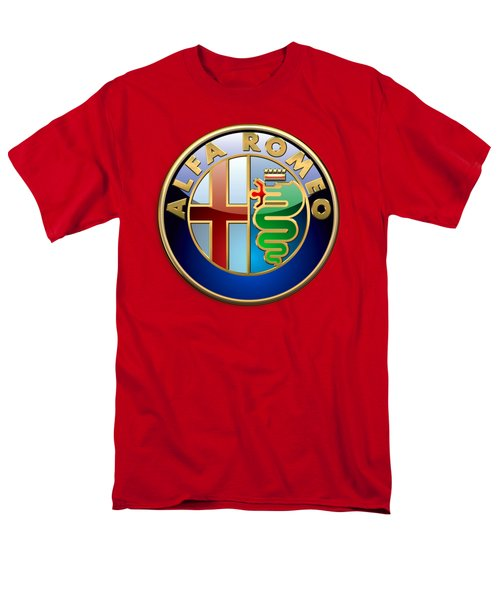 Alfa Romeo - 3d Badge On Red Men's T-Shirt  (Regular Fit) by Serge Averbukh