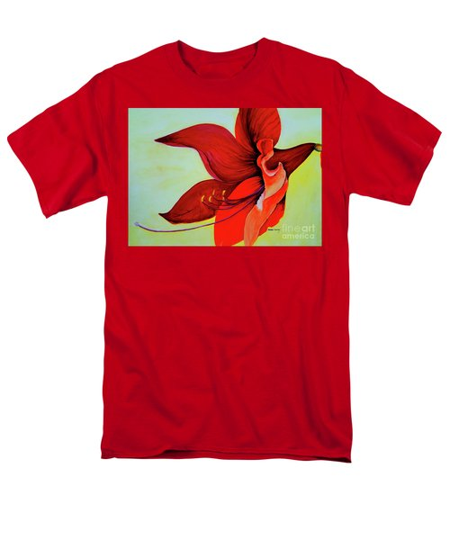 Men's T-Shirt  (Regular Fit) featuring the painting Amaryllis Blossom by Rachel Lowry