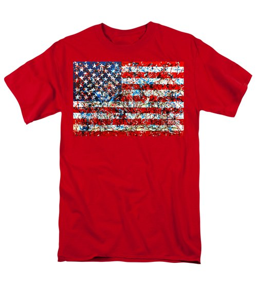 Men's T-Shirt  (Regular Fit) featuring the painting American Flag Abstract With Trees by Genevieve Esson
