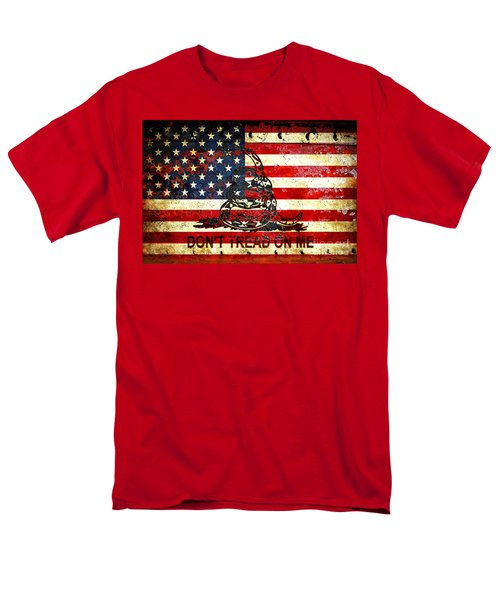 American Flag And Viper On Rusted Metal Door - Don't Tread On Me Men's T-Shirt  (Regular Fit) by M L C