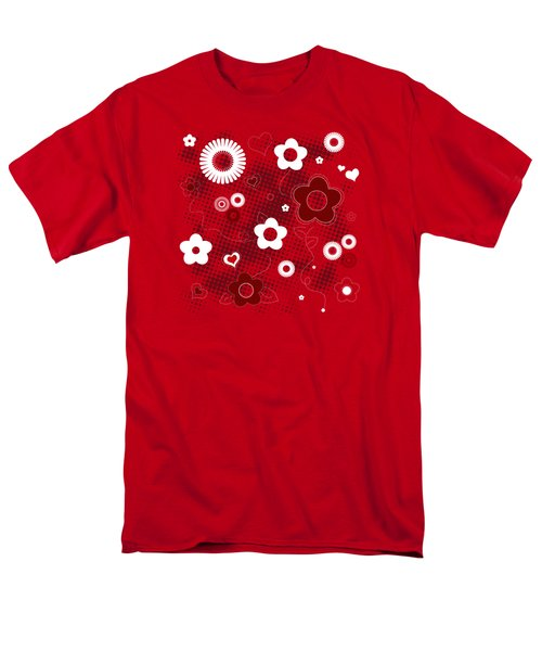 Floral And Hearts Valentine Pattern Men's T-Shirt  (Regular Fit) by Serena King