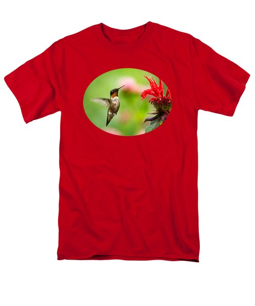 Male Ruby-throated Hummingbird Hovering Near Flowers Men's T-Shirt  (Regular Fit) by Christina Rollo
