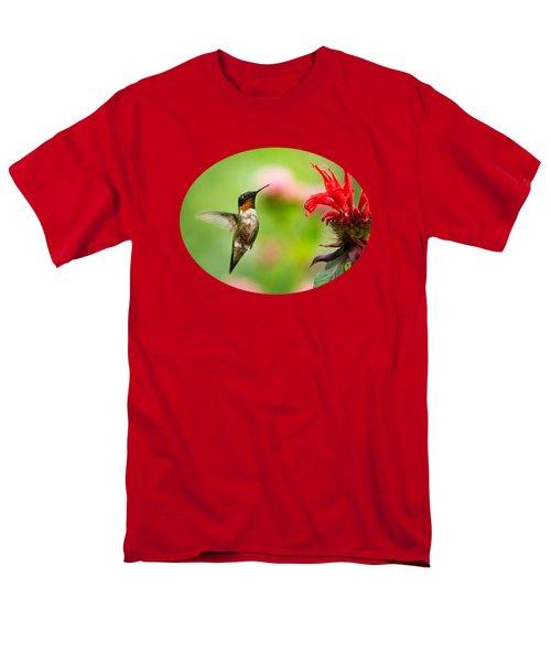 Male Ruby-throated Hummingbird Hovering Near Flowers Men's T-Shirt  (Regular Fit)