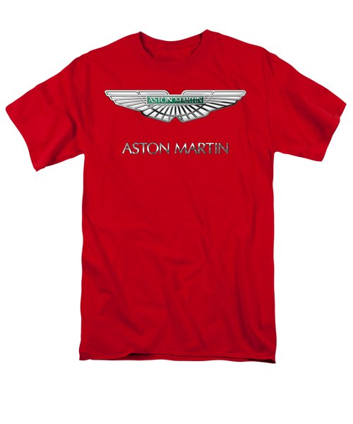 Aston Martin - 3 D Badge On Red Men's T-Shirt  (Regular Fit) by Serge Averbukh