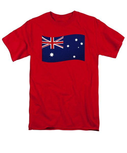 Men's T-Shirt  (Regular Fit) featuring the photograph Australian Flag Waving Png By Kaye Menner by Kaye Menner