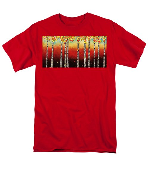 Men's T-Shirt  (Regular Fit) featuring the painting Autumn Birch Trees by Carmen Guedez