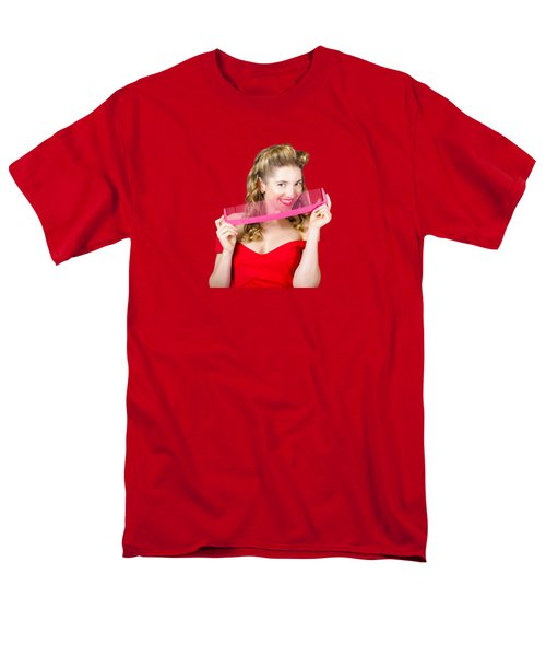 Men's T-Shirt  (Regular Fit) featuring the photograph Beauty Salon Pinup Girl Smiling With Haircare Comb by Jorgo Photography - Wall Art Gallery
