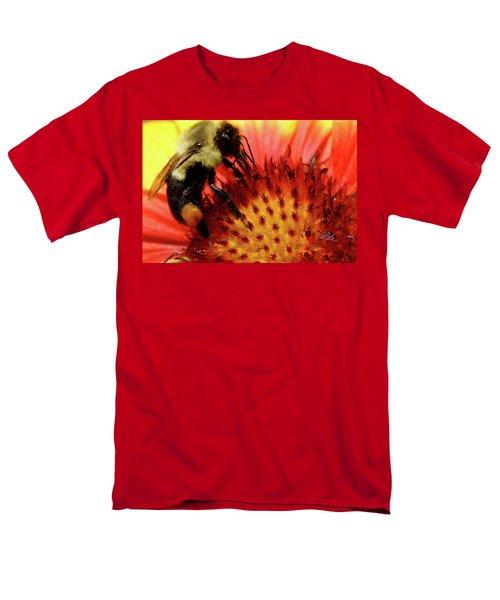 Men's T-Shirt  (Regular Fit) featuring the photograph Bee Red Flower by Meta Gatschenberger