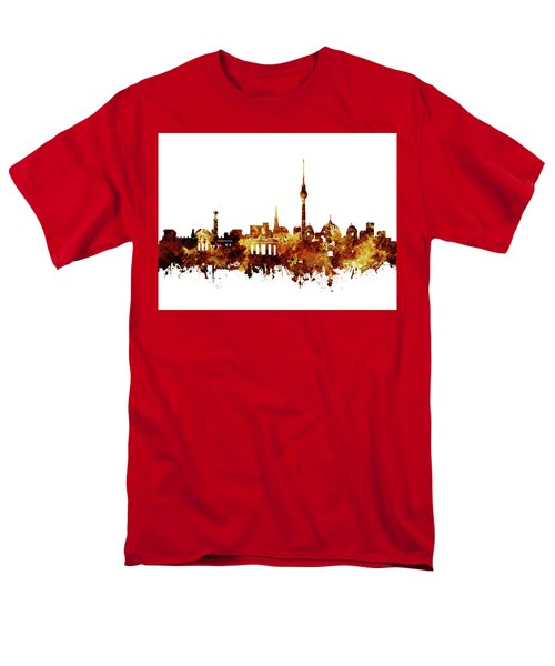 Berlin City Skyline Brown Men's T-Shirt  (Regular Fit) by Bekim Art