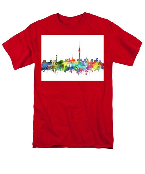 Berlin City Skyline Watercolor Men's T-Shirt  (Regular Fit) by Bekim Art