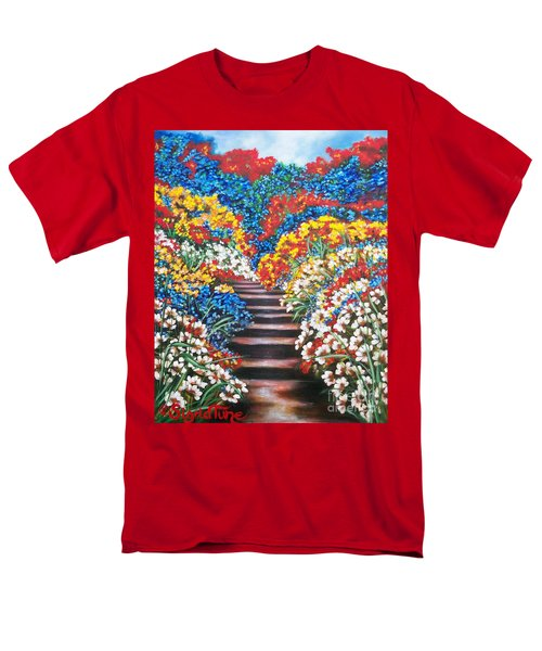 Men's T-Shirt  (Regular Fit) featuring the painting Blue Garden Cascade by Sigrid Tune
