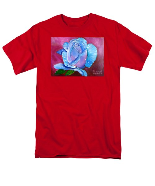 Blue Rose With Dew Drops Men's T-Shirt  (Regular Fit) by Jenny Lee