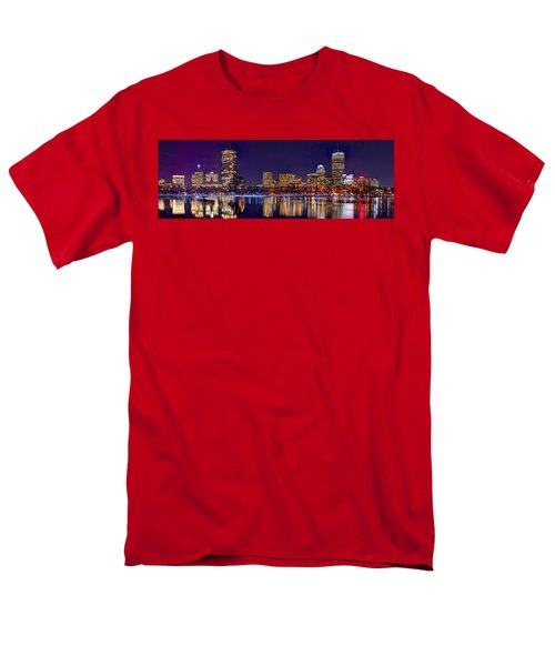Men's T-Shirt  (Regular Fit) featuring the photograph Boston Back Bay Skyline At Night 2017 Color Panorama 1 To 3 Ratio by Jon Holiday