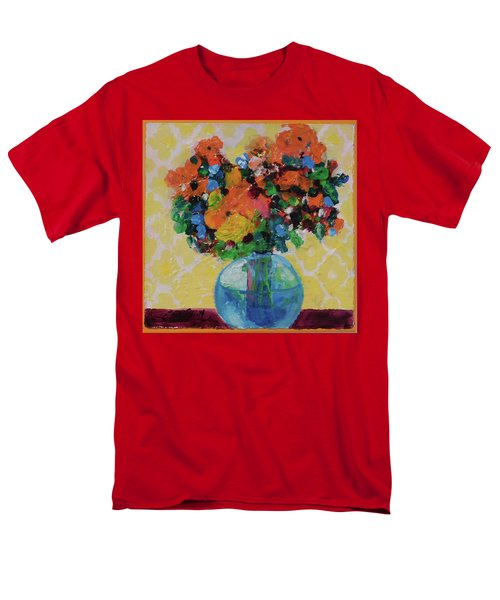 Men's T-Shirt  (Regular Fit) featuring the painting Bouquet-a-day #7 Original Acrylic Painting Free Shipping 59.00 By Elaine Elliott by Elaine Elliott