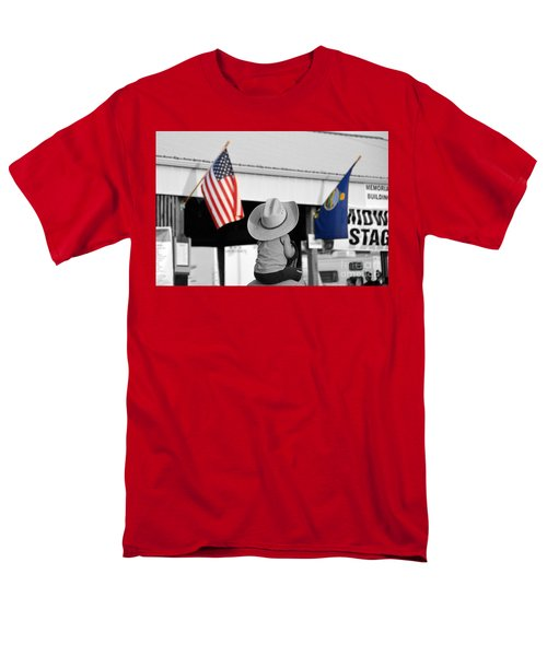 Boy With Two Flags Men's T-Shirt  (Regular Fit)