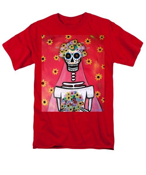 Men's T-Shirt  (Regular Fit) featuring the painting Bridezilla Dia De Los Muertos by Pristine Cartera Turkus