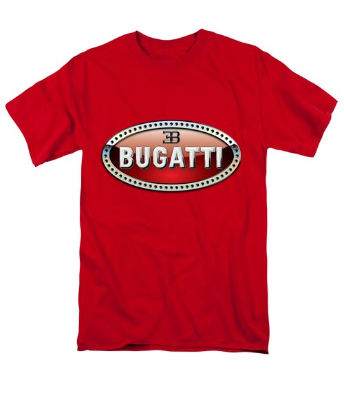 Bugatti - 3 D Badge On Red Men's T-Shirt  (Regular Fit) by Serge Averbukh
