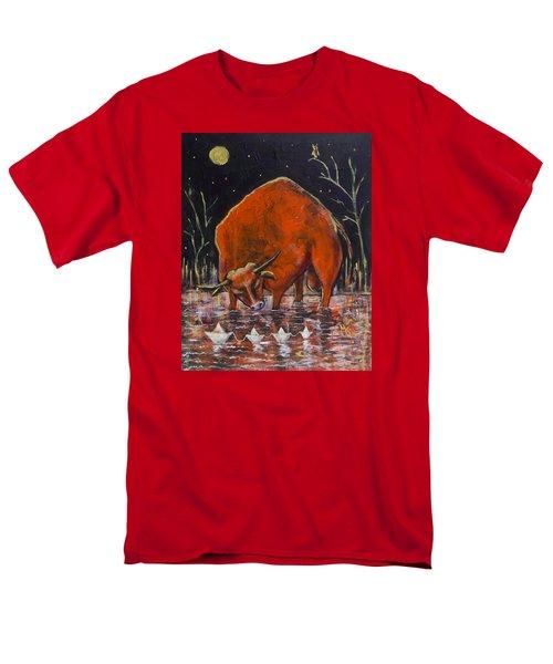 Bull And Paper Boats Men's T-Shirt  (Regular Fit) by Maxim Komissarchik