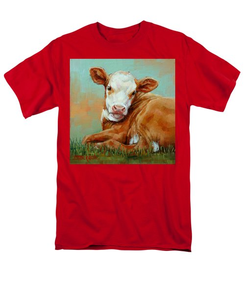 Men's T-Shirt  (Regular Fit) featuring the painting Calf Resting by Margaret Stockdale