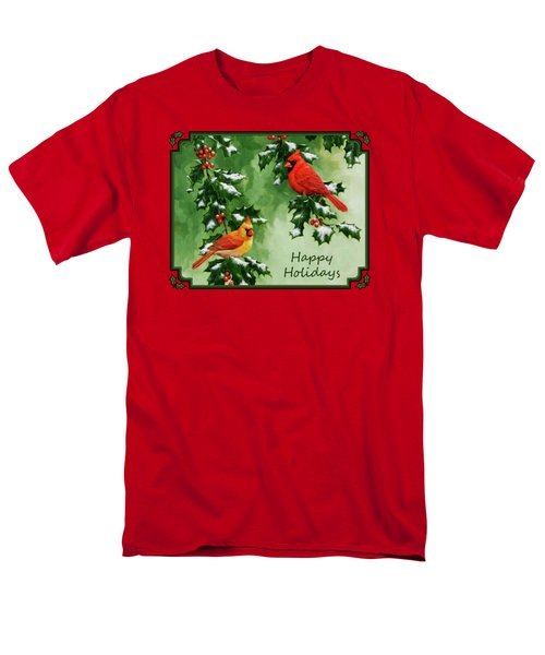 Cardinals Holiday Card - Version With Snow Men's T-Shirt  (Regular Fit) by Crista Forest