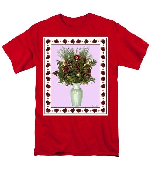 Men's T-Shirt  (Regular Fit) featuring the digital art Celadon Vase With Christmas Bouquet by Lise Winne