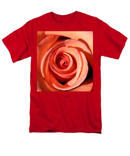 Men's T-Shirt  (Regular Fit) featuring the photograph Center Of The Peach Rose by Barbara Chichester