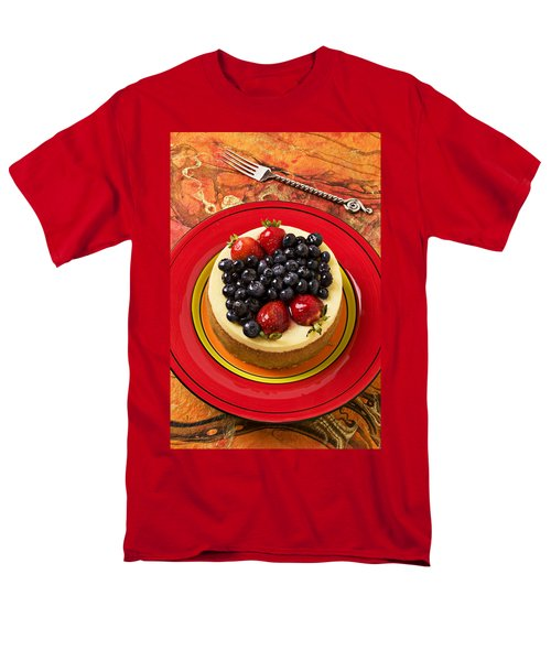 Cheesecake On Red Plate Men's T-Shirt  (Regular Fit) by Garry Gay