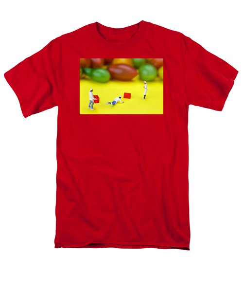 Men's T-Shirt  (Regular Fit) featuring the painting Chef Tumbled In Front Of Colorful Tomatoes Little People On Food by Paul Ge