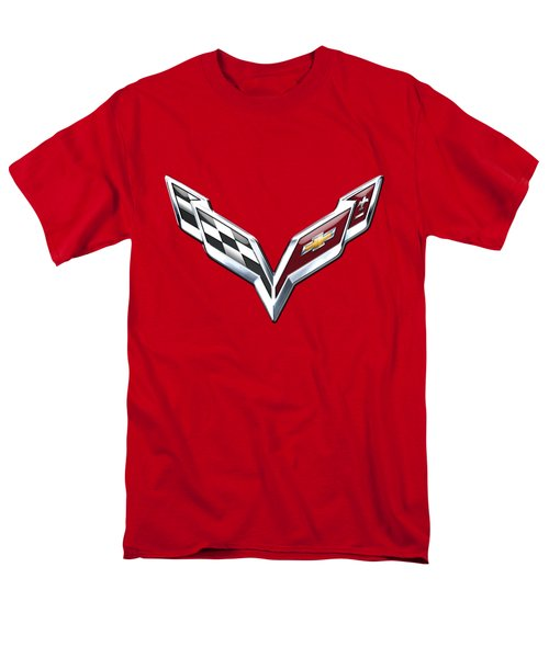 Chevrolet Corvette - 3d Badge On Red Men's T-Shirt  (Regular Fit) by Serge Averbukh